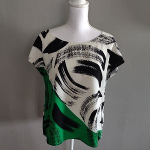 Vince Camuto Black White and Green Blouse